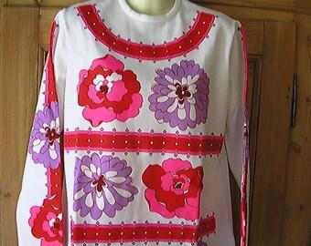 Vintage Mod/Pop Floral Jane Colby Shirt Polyester Top M USA
