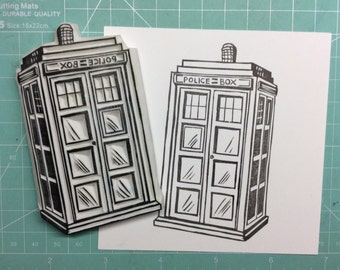 Tardis stamp. Doctor Who. Rubber stamp. Hand carved stamp. Mounted