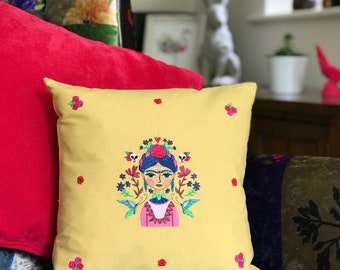 Mexicana - embroidered cushion - mustard - floral