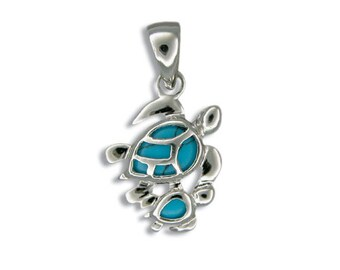 Sterling Silver Hawaiian Mother & Baby Honu Blue Turquoise Pendant with Rhodium Box Chain (P977)