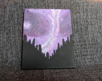 Pink Galaxy Acrylic Painting, Silhouetted Forest