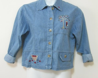 Vintage Misses Size S Embroidered Denim Shirt Button Front Lady Swinging From Apple Tree Long Sleeve SEE Details