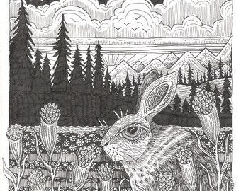 """Rabbit Ink Drawing 15 - an 8 x 10"""" ART PRINT of a serene quiet Hare sitting in a field of wild flowers under a whimsical starry night sky"""