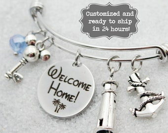 DVC Old Key West - Welcome Home - Vacation Club - DISNEY Inspired, Resort,  Custom Name Charm Bracelet Adjustable Bangle, Mickey Key