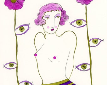 The Exhibitionist-Eye Print, Eyes, Surrealism, Surreal Print, Eye flowers, Pink and Green Print, Voyeurism, Voyeuristic Print, Art Print