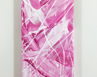 iPhone 5 / 5s - Cellphone Case - Abstract Cover - Pink White - Hand Painted Art