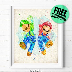 Super Mario And Luigi Watercolor Print, Games Baby Boy Nursery Decor, Wall  Art,