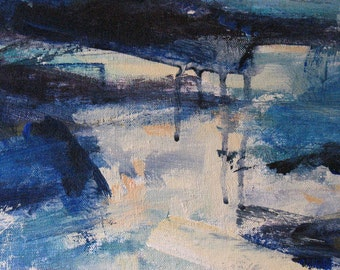 Wild Blue Yonder ORIGINAL Abstract Painting 14 x 16 ocean night sea framed