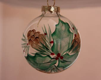 Glass ornament, hand-painted Christmas ornament, Christmas ornament, Glass Christmas ornament, flower ornament