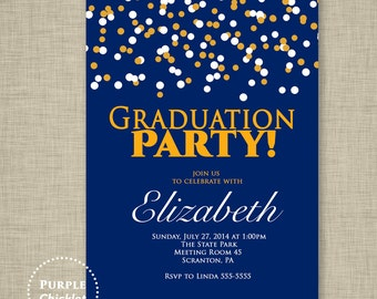 Confetti 2018 Graduation Party Birthday Party invitation Gold and Navy Royal Blue Printable Party Invite JPEG file (13)