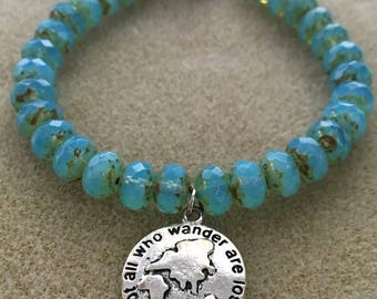 Not All Who Wander Are Lost- Blue Czech Glass Bead Bracelet Charm Bracelet