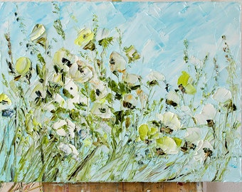 Blue Turquoise White Olive Yellow Citric Colorful Wild Flowers Oil Painting Canvas Original Impressionism Floral Landscape Palette Knife Art