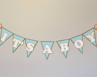 It's a Boy bear baby shower birthday party banner pennant decor