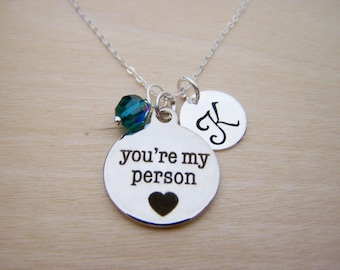 You're My Person Necklace -  Swarovski Birthstone Initial Personalized Sterling Silver Necklace / Gift for Her - Person Charm