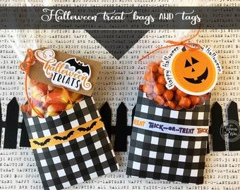 kit halloween treat bag and tag pumpkins bats party favor treat box