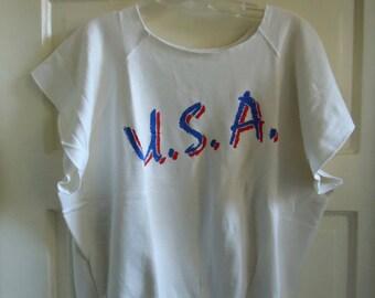 Vintage 80s USA Aerobics Style Short Sleeved Sweatshirt sz M/L