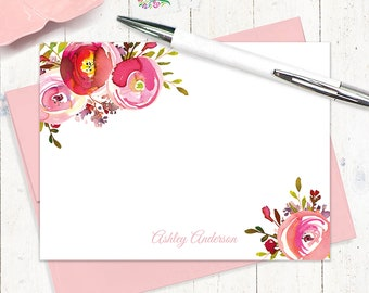 personalized note cards - PINK PEONIES WATERCOLOR flowers- set of 12 flat note cards - choose envelope color - custom stationery set