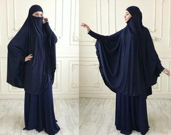 Transformator dunkelblau Khimar, Niqab Transformator, indigo Niqab, Marine Nikab, traditionelle Hijab, bereit um zu tragen, lange Hijab, Burka, Hijab, abaya