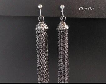 Clip On Earrings 350:  Long Drop Chain Tassel Costume Clip-on Earrings | Fashion Earrings, Clip Earrings, Tassel Earrings, Gifts for Women