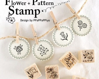 A Set of DIY Rubber Stamp -Flowers and Patterns