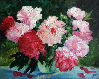 Bouquet of peonies oil painting 30x40cm 56 USD