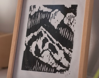 Mountains. Linocut handprinted mountain themed