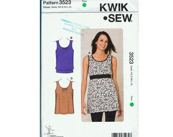 Kwik Sew 3523  women's Tunic Top Sewing Pattern UNCUT
