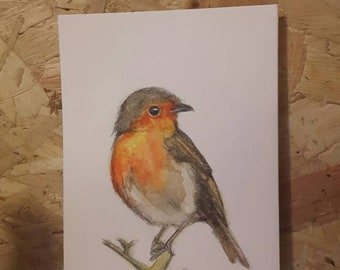 Art by Leeanne Langton Robin original watercolour painting ooak