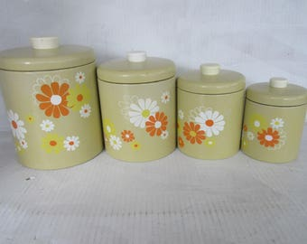 Vintage Ransburg Canister Set, Daisies, Set of four