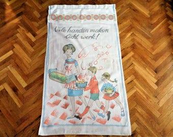 Vintage Kitchen Towel, Dutch Kitchen Towel, Holland Tea Towel, Dish Towel, Mid Century Kitchen Towel, Hanging Tea Towel, Vintage Linens, 60s