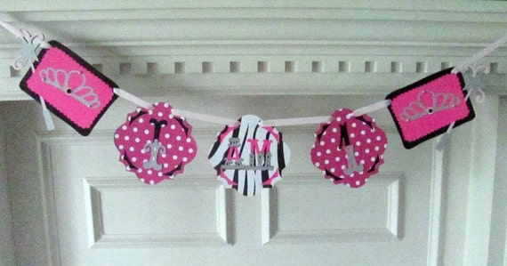 Princess Tiara Highchair banner in Hot Pink Zebra print