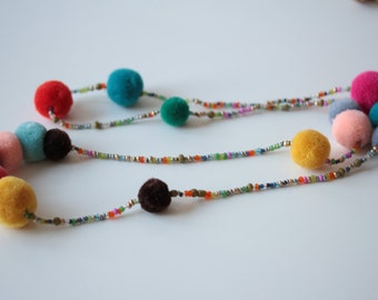 Pom Pom Seed bead Necklace-SALE!
