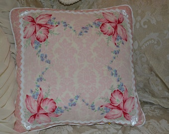 Handmade Pillow Pink Damask Floral Vintage Handkerchief Pillow