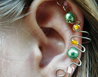 Elegant Ear Cuff (Green Pearl, Orange, & Pink)