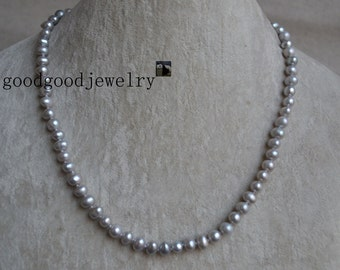 gray Pearl Necklace, 18 inches 6-7mm single strand gray freshwater pearl necklace,wedding party,wedding necklace,gray bead necklace