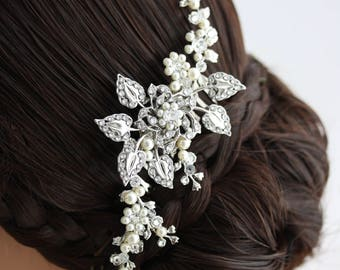 Vine Leaf Comb Bridal Hair Comb Crystal Leaf Comb Pearl Comb HARLOW PEARL