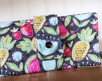 Women wallet, wallet, vegan wallet, summer wallet, fabric wallet, handmade wallet, fruits, flower, watermelon, pineapple, polka dot, grey