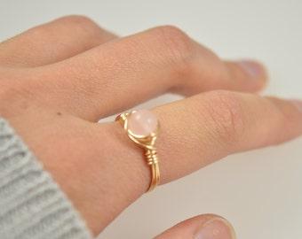 Pink stone ring Etsy