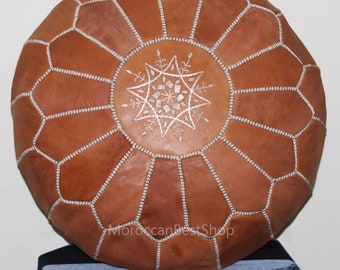 Handmade Ottoman Moroccan Leather pouf,Handcrafted Authentic Moroccan Pouf,Genuine leather Moroccan Pouf .