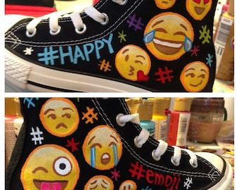 Custom Painted EMOJI CONVERSE Shoes Any Size