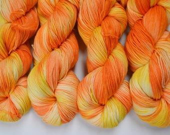 Addy Socks, Stardust Sparkle, hand dyed yarn, handdyed yarn, hand dyed sock yarn, fingering yarn, sparkle yarn, BFL yarn, Orange Sorbet