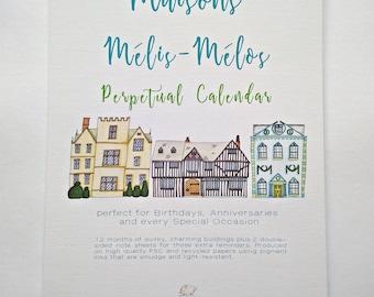 A4 Birthday Perpetual Calendar, Maisons Mélis-Mélos, buildings illustrations