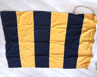 Vintage nautical flag - stunning linen with cord for hanging.