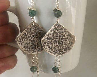 Fine silver and jade earrings