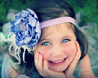 Girl Headband...Baby Headband...Luscious Lavender Satin Flower Headband...Photo Prop...Birthday