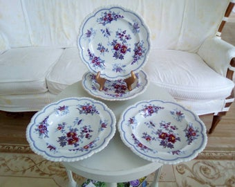 ANTIQUE transferware plate and bowls