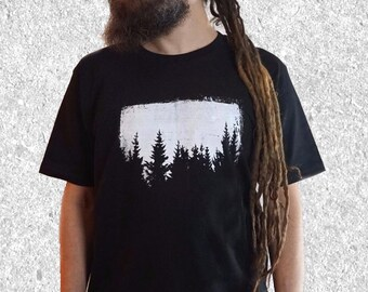 Trees T Shirt, Nature Shirt, Mens Graphic Tee, Forest Shirt, Hiking Shirt, Outdoors Gift, Wanderlust Gift, Screen Printed Shirt