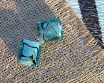 Set of 2 beads MURANO style rectangular TURQUOISE 16x14mm