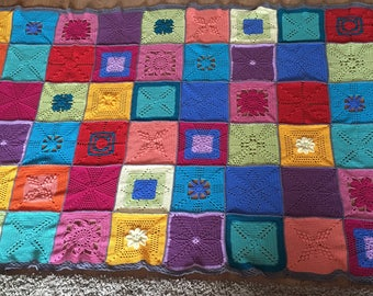 Patchwork scheepjes cotton blanket / throw / afghan