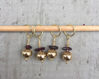 Gold & Garnet Stitch Marker Set